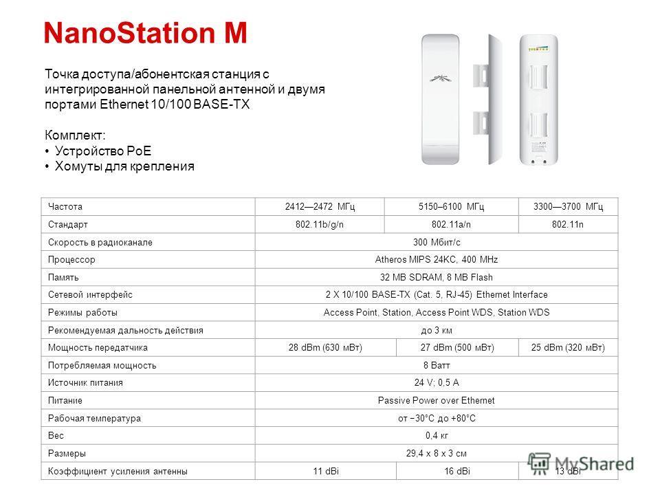NanoStation M Точка доступа/абонентская станция с интегрированной панельной антенной и двумя портами Ethernet 10/100 BASE-TX Комплект: Устройство PoE Хомуты для крепления Частота 24122472 МГц 5150–6100 МГц 33003700 МГц Стандарт 802.11b/g/n802.11a/n80