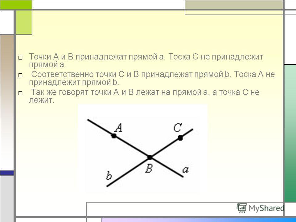 Точки A и B принадлежат прямой a. Тоска С не принадлежит прямой a. Соответственно точки С и B принадлежат прямой b. Тоска A не принадлежит прямой b. Так же говорят точки A и B лежат на прямой a, а точка С не лежит.
