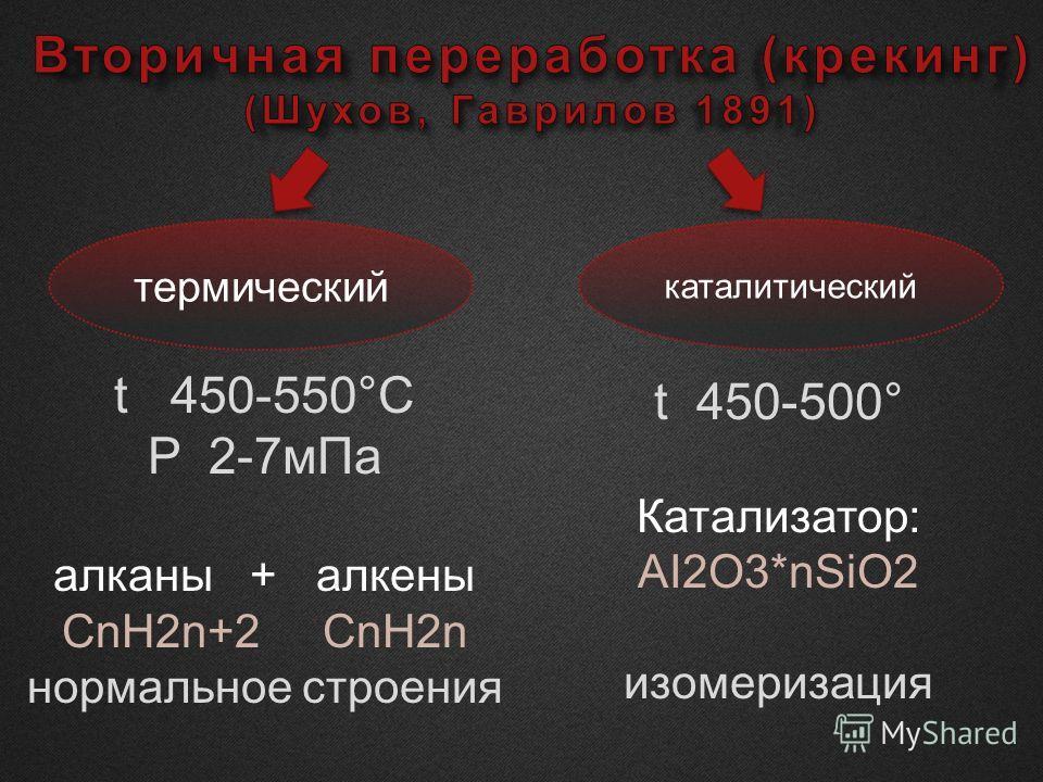 термический каталитический t 450-550°C P 2-7 м Па алканы + алкены СnH2n+2 СnH2n нормальное строения t 450-500° Катализатор: AI2O3*nSiO2 изомеризация