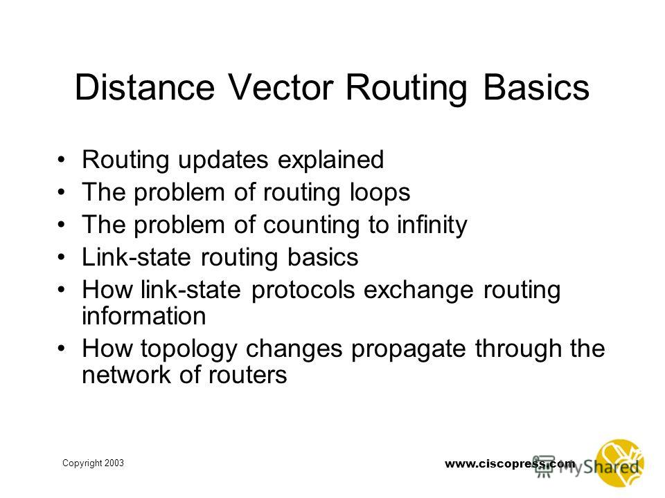 www.ciscopress.com Copyright 2003 Distance Vector Routing Basics Routing updates explained The problem of routing loops The problem of counting to infinity Link-state routing basics How link-state protocols exchange routing information How topology c