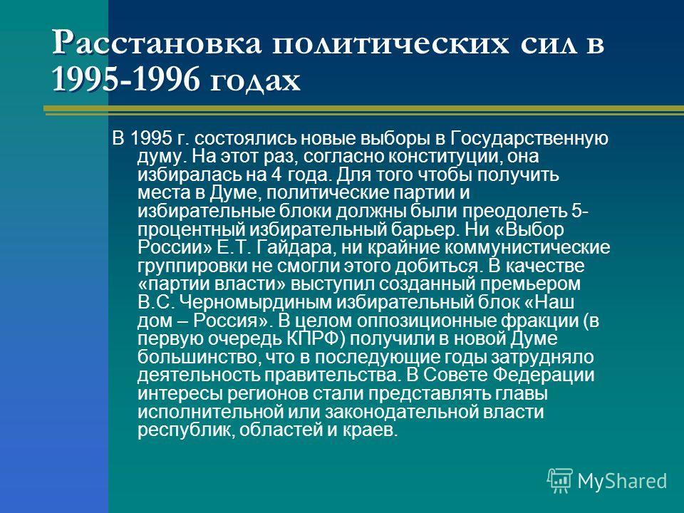 Расстановка политических сил в 1995-1996 годах В 1995 г. состоялись новые выборы в Государственную думу. На этот раз, согласно конституции, она избиралась на 4 года. Для того чтобы получить места в Думе, политические партии и избирательные блоки долж