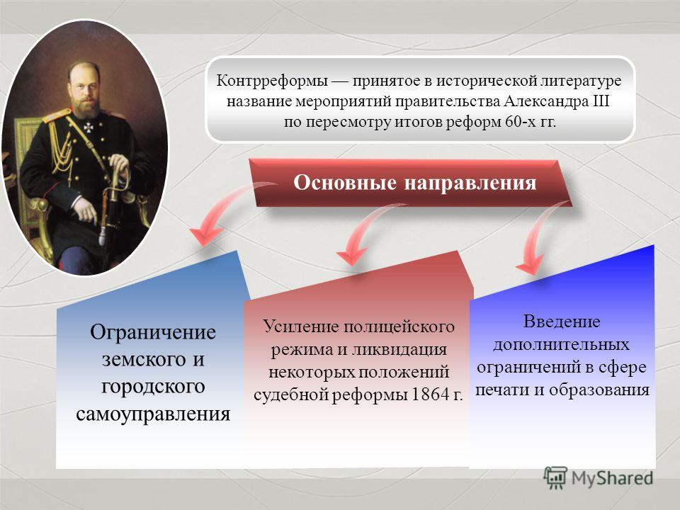 Контрреформы принятое в исторической литературе название мероприятий правительства Александра III по пересмотру итогов реформ 60-х гг. Ограничение земского и городского самоуправления Усиление полицейского режима и ликвидация некоторых положений суде