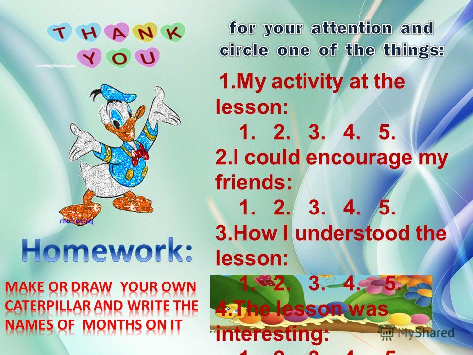1. My activity at the lesson: 1. 2. 3. 4. 5. 2. I could encourage my friends: 1. 2. 3. 4. 5. 3. How I understood the lesson: 1. 2. 3. 4. 5. 4. The lesson was interesting: 1. 2. 3. 4. 5.