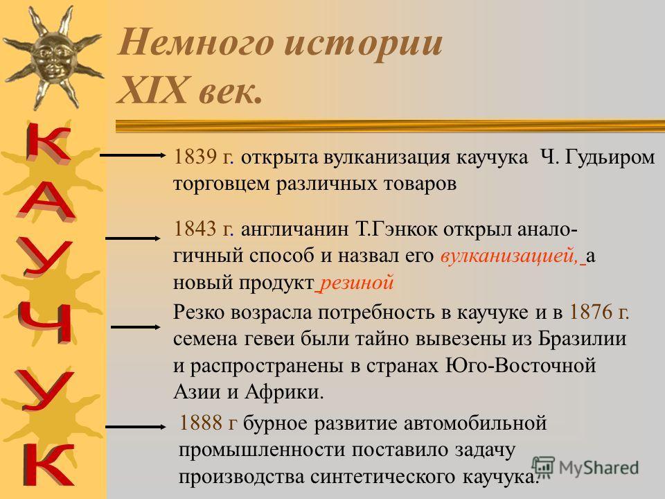 Немного истории 1832 год - немецкий химик Людесдорф установил,что К а у ч у к хрупкий мягкий упругий и элластичный