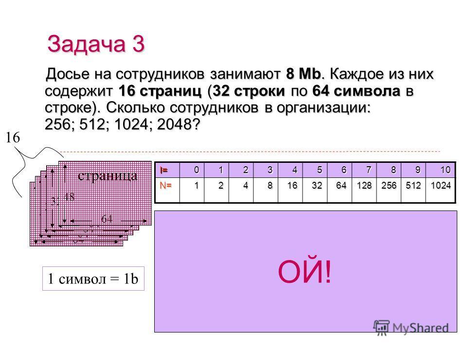 Для хранения области экрана монитора размером 256 х 128 точек выделено 32 Kb оперативной памяти. Количество цветов, максимально допустимое для раскраски каждой точки: 4; 16; 256; 512 ? Задача 2 128 256 I=012345678910N=12481632641282565121024 1. Всего