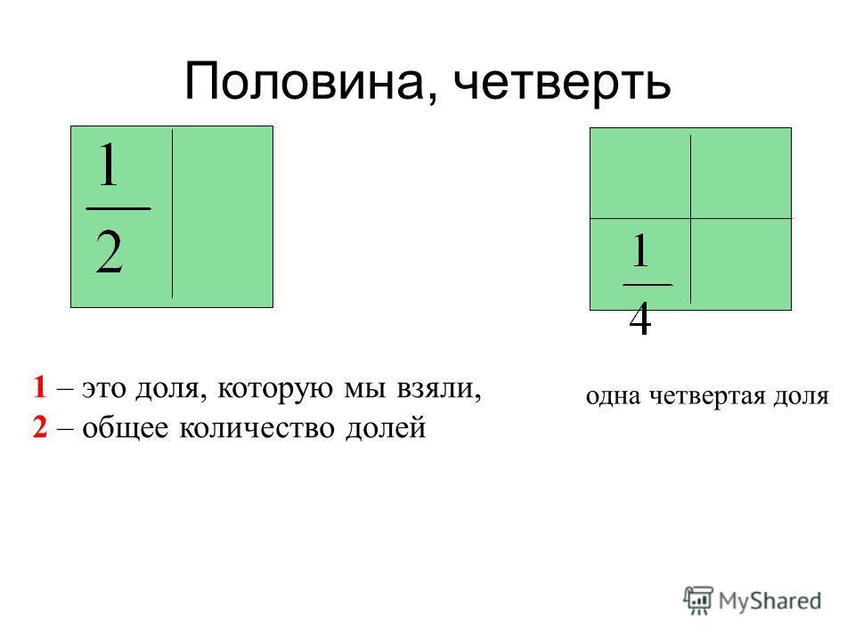 Половина, четверть 1 – это доля, которую мы взяли, 2 – общее количество долей одна четвертая доля