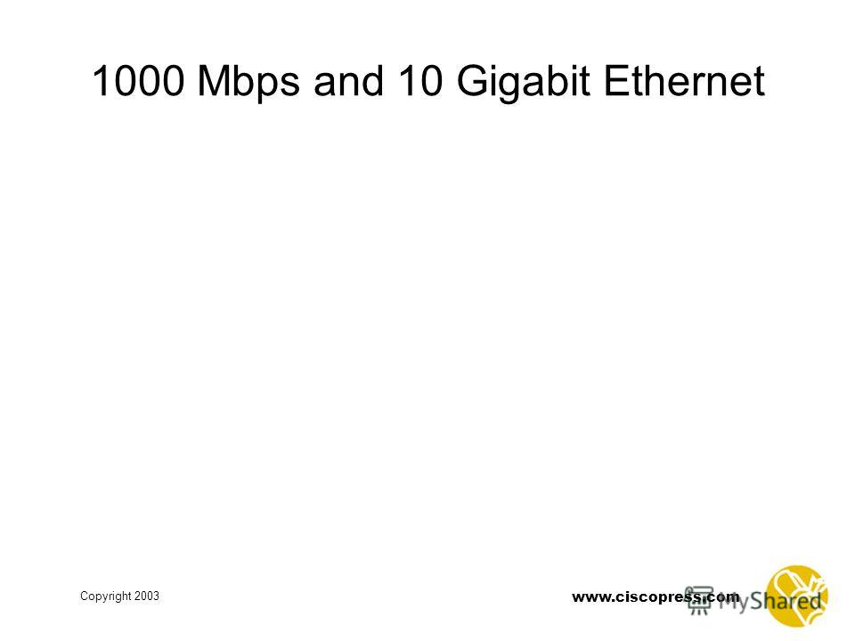 Copyright 2003 www.ciscopress.com 1000 Mbps and 10 Gigabit Ethernet