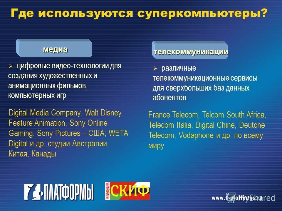 медиа телекоммуникации цифровые видео-технологии для создания художественных и анимационных фильмов, компьютерных игр Digital Media Company, Walt Disney Feature Animation, Sony Online Gaming, Sony Pictures – США; WETA Digital и др. студии Австралии,