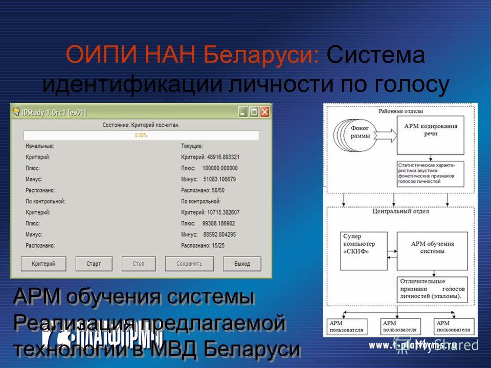 ОИПИ НАН Беларуси: Система идентификации личности по голосу АРМ обучения системы Реализация предлагаемой технологии в МВД Беларуси