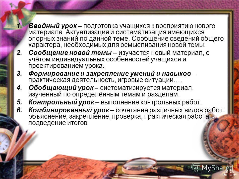 1. Вводный урок – подготовка учащихся к восприятию нового материала. Актуализация и систематизация имеющихся опорных знаний по данной теме. Сообщение сведений общего характера, необходимых для осмысливания новой темы. 2. Сообщение новой темы – изучае