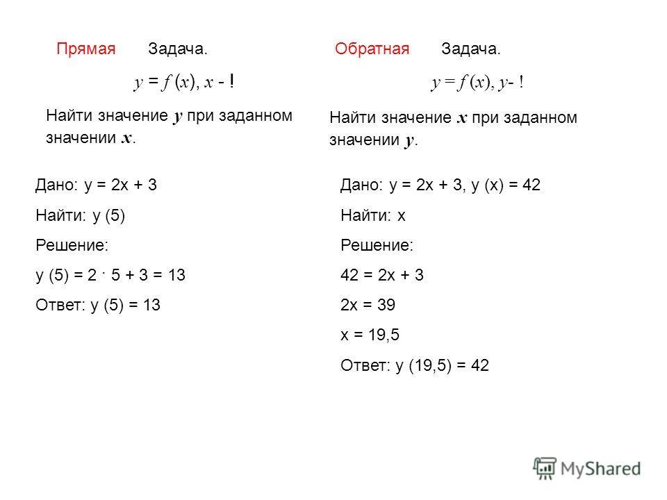 Задача. у = f (x), x - ! Найти значение у при заданном значении х. Задача. у = f (x), у- ! Найти значение х при заданном значении у. Дано: у = 2 х + 3 Найти: у (5) Решение: у (5) = 2 · 5 + 3 = 13 Ответ: у (5) = 13 Дано: у = 2 х + 3, у (х) = 42 Найти: