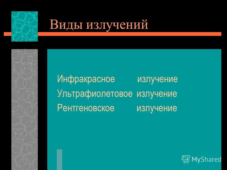 Виды излучений Инфракрасное излучение Ультрафиолетовое излучение Рентгеновское излучение