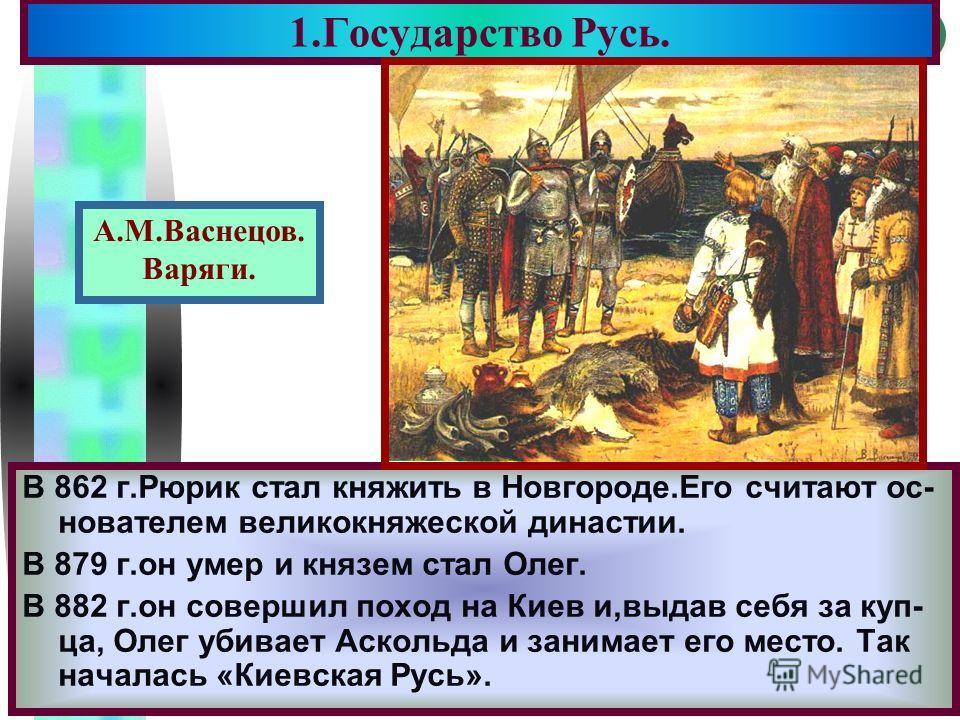Меню В 862 г.Рюрик стал княжить в Новгороде.Его считают ос- нователем великокняжеской династии. В 879 г.он умер и князем стал Олег. В 882 г.он совершил поход на Киев и,выдав себя за куп- ца, Олег убивает Аскольда и занимает его место. Так началась «К