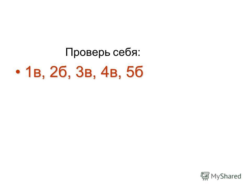 Проверь себя: 1 в, 2 б, 3 в, 4 в, 5 б 1 в, 2 б, 3 в, 4 в, 5 б