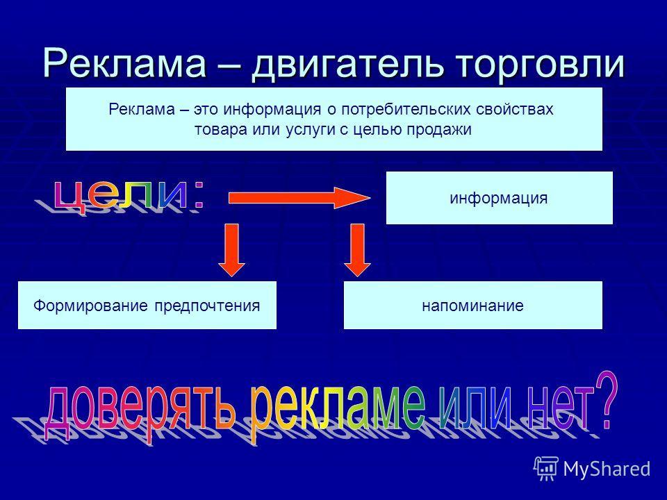 Реклама – двигатель торговли Реклама – это информация о потребительских свойствах товара или услуги с целью продажи информация Формирование предпочтениянапоминание