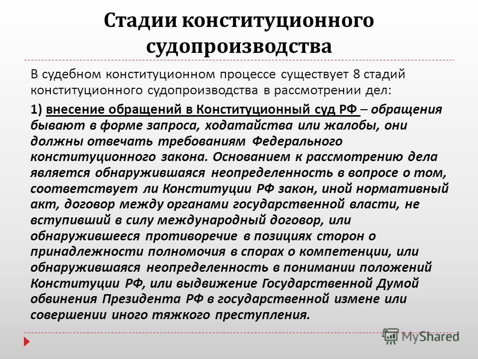 Стадии конституционного судопроизводства В судебном конституционном процессе существует 8 стадий конституционного судопроизводства в рассмотрении дел : 1) внесение обращений в Конституционный суд РФ – обращения бывают в форме запроса, ходатайства или