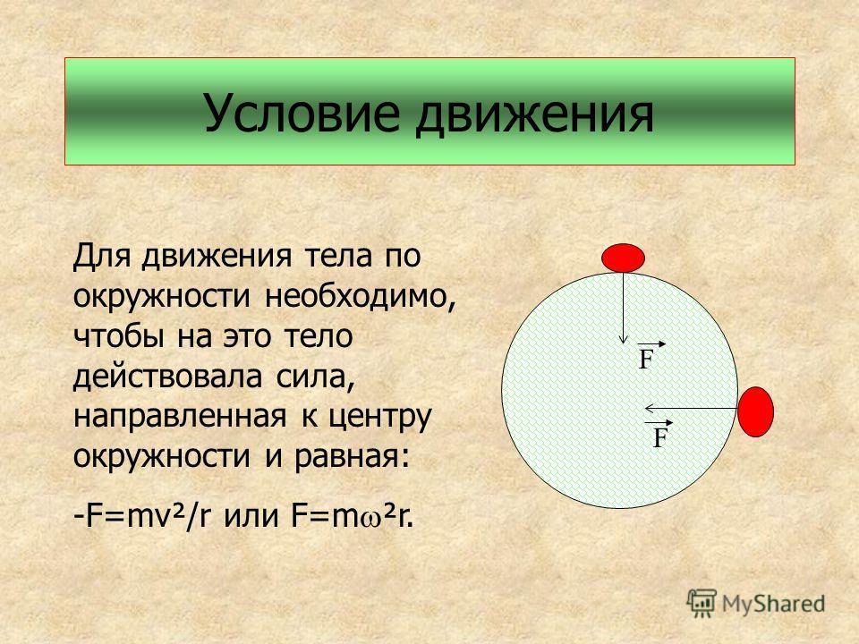 Условие движения Для движения тела по окружности необходимо, чтобы на это тело действовала сила, направленная к центру окружности и равная: -F=mv²/r или F=m ²r. F F
