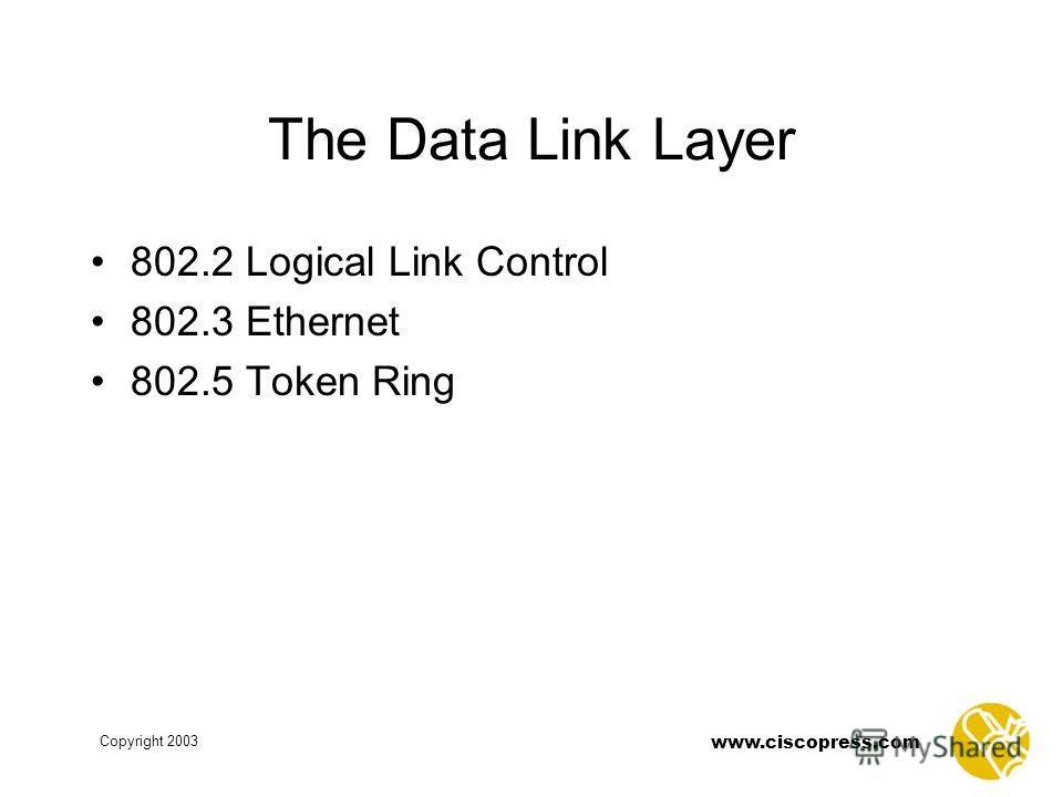 www.ciscopress.com Copyright 2003 The Data Link Layer 802.2 Logical Link Control 802.3 Ethernet 802.5 Token Ring