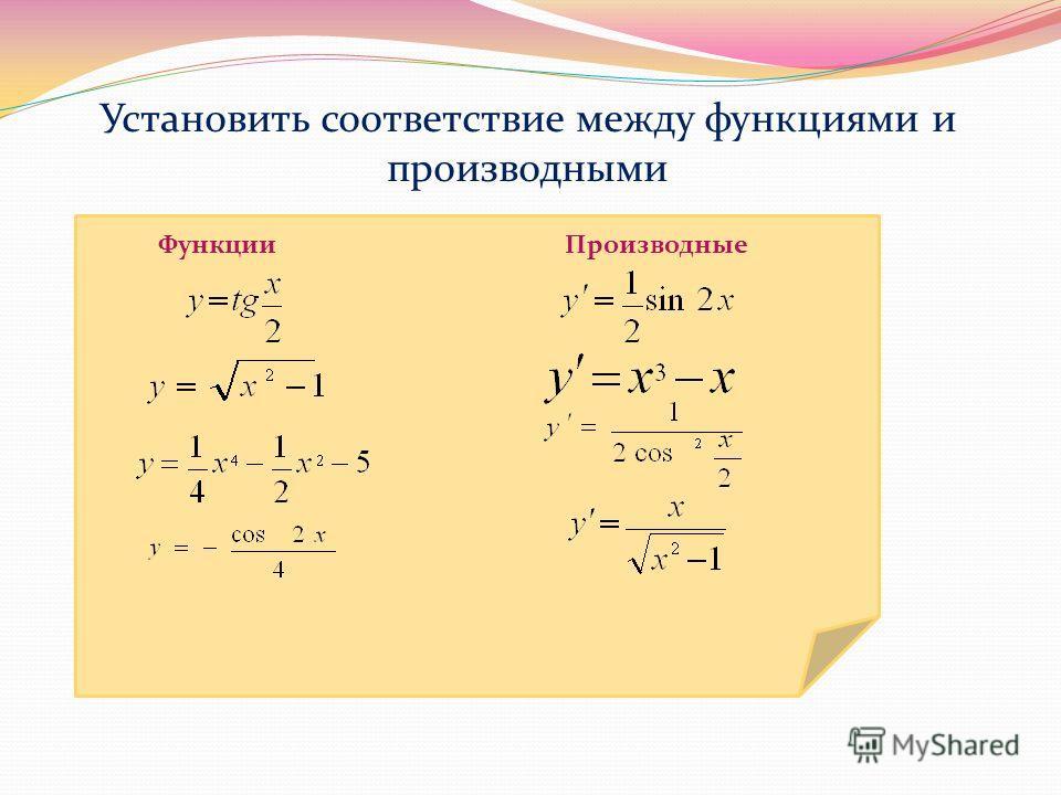 Установить соответствие между функциями и производными Функции Производные