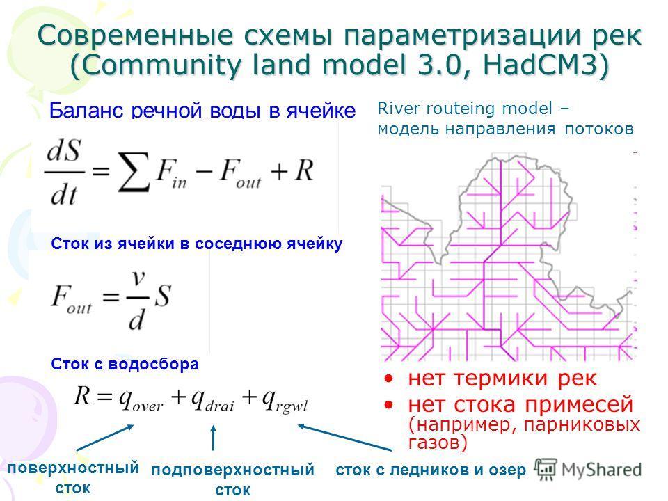 Современные схемы параметризации рек (Community land model 3.0, HadCM3) нет термики рек нет стока примесей (например, парниковых газов) Баланс речной воды в ячейке Сток из ячейки в соседнюю ячейку Сток с водосбора поверхностный сток подповерхностный