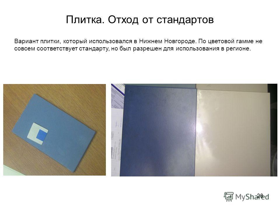 28 Плитка. Отход от стандартов Вариант плитки, который использовался в Нижнем Новгороде. По цветовой гамме не совсем соответствует стандарту, но был разрешен для использования в регионе.