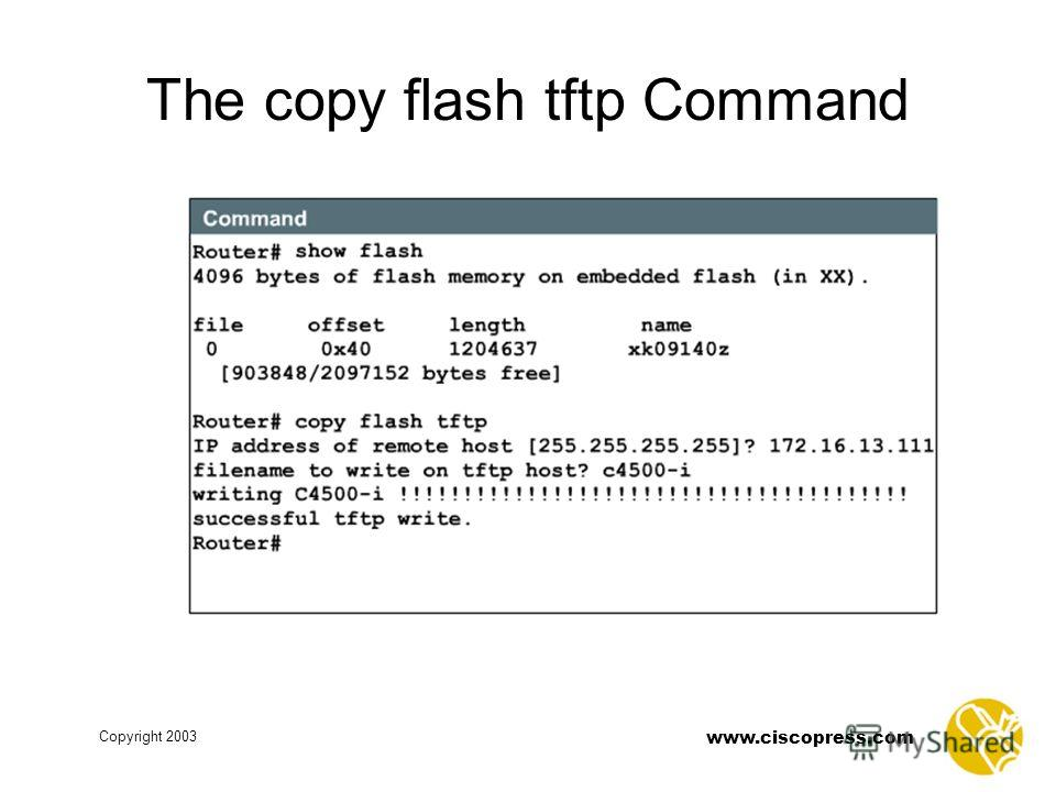 www.ciscopress.com Copyright 2003 The copy flash tftp Command