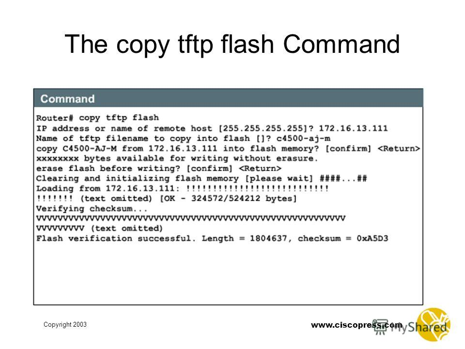 www.ciscopress.com Copyright 2003 The copy tftp flash Command