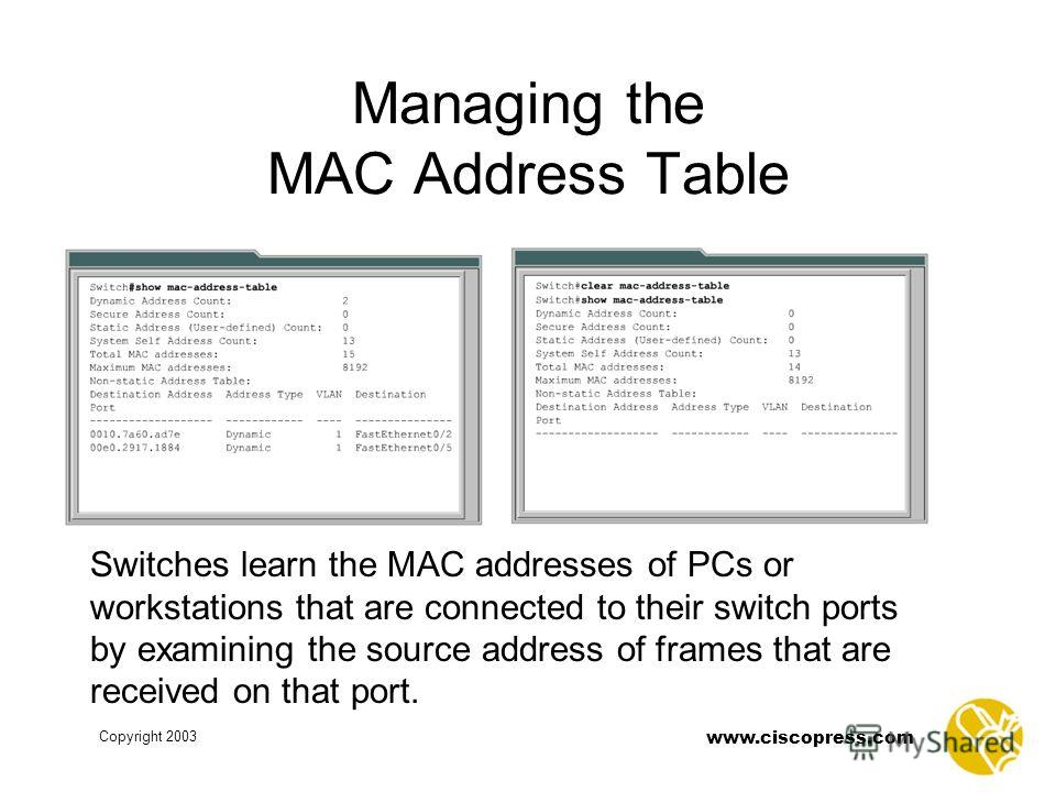 www.ciscopress.com Copyright 2003 Managing the MAC Address Table Switches learn the MAC addresses of PCs or workstations that are connected to their switch ports by examining the source address of frames that are received on that port.