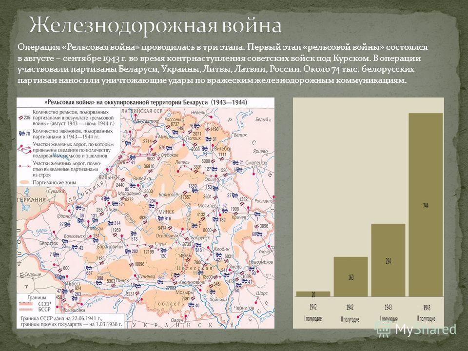 Операция «Рельсовая война» проводилась в три этапа. Первый этап «рельсовой войны» состоялся в августе – сентябре 1943 г. во время контрнаступления советских войск под Курском. В операции участвовали партизаны Беларуси, Украины, Литвы, Латвии, России.