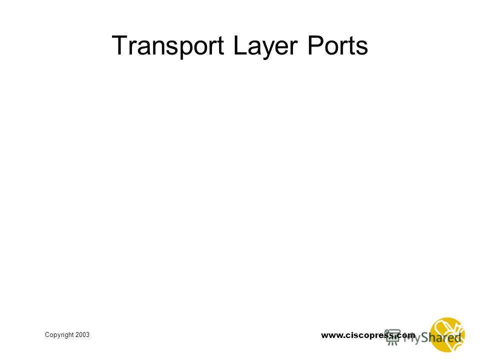 www.ciscopress.com Copyright 2003 Transport Layer Ports