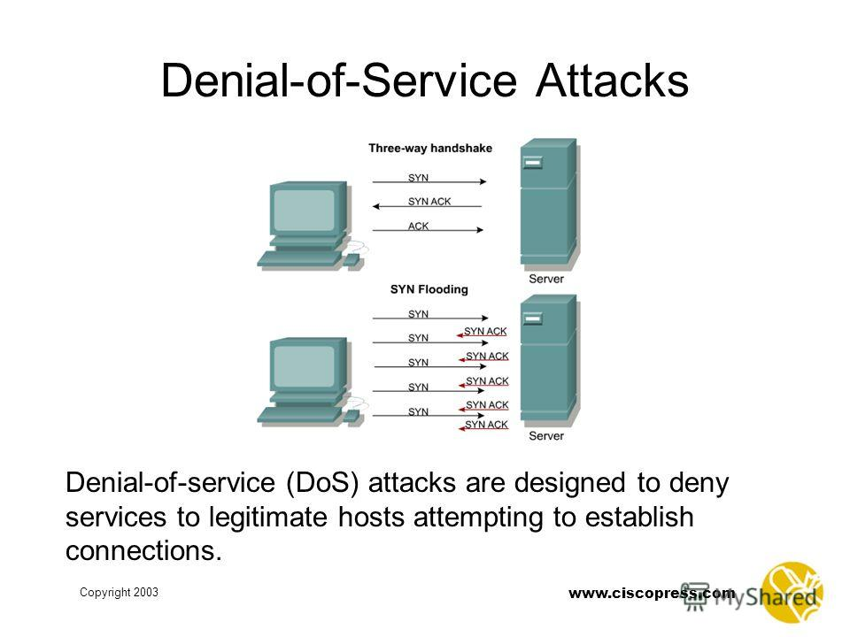 www.ciscopress.com Copyright 2003 Denial-of-Service Attacks Denial-of-service (DoS) attacks are designed to deny services to legitimate hosts attempting to establish connections.