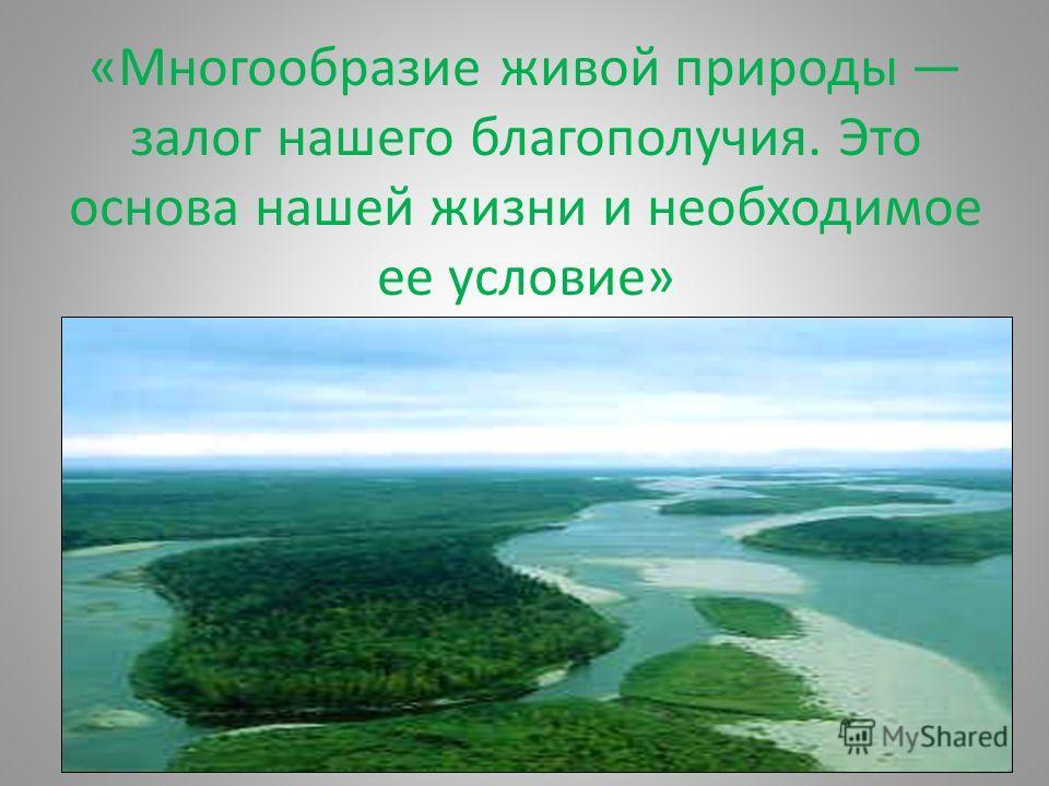 «Многообразие живой природы залог нашего благополучия. Это основа нашей жизни и необходимое ее условие»