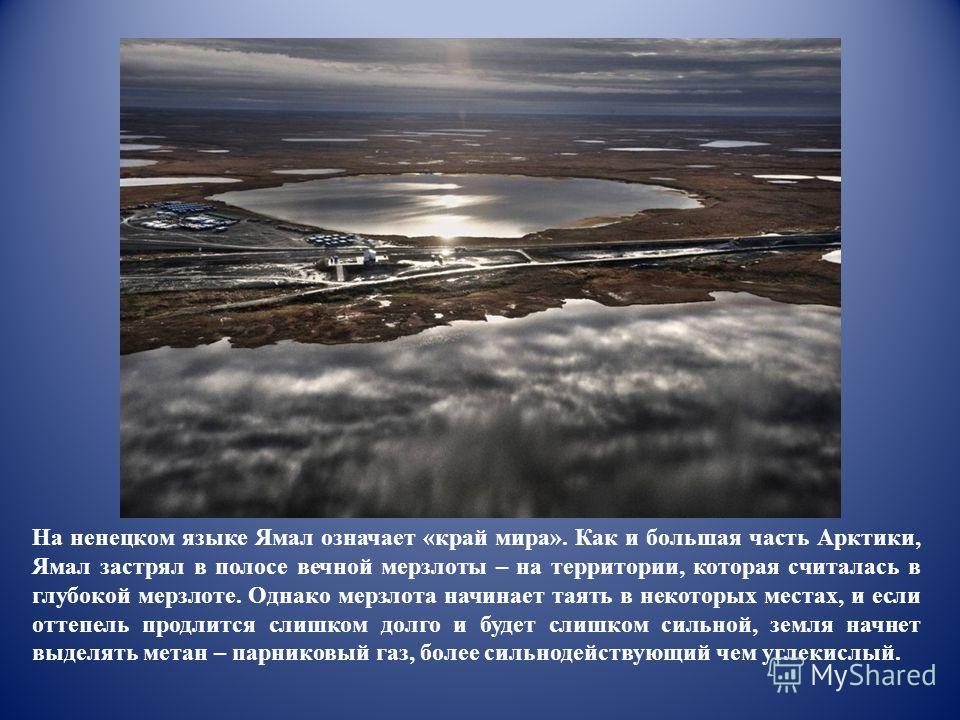 На ненецком языке Ямал означает «край мира». Как и большая часть Арктики, Ямал застрял в полосе вечной мерзлоты – на территории, которая считалась в глубокой мерзлоте. Однако мерзлота начинает таять в некоторых местах, и если оттепель продлится слишк