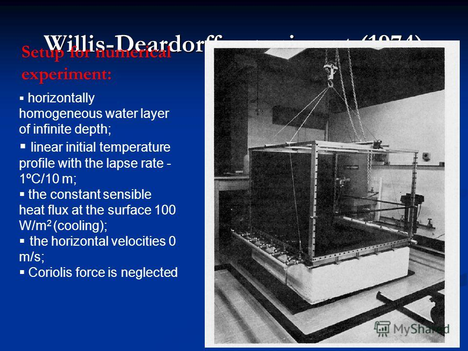 Willis-Deardorff experiment (1974) Setup for numerical experiment: horizontally homogeneous water layer of infinite depth; linear initial temperature profile with the lapse rate - 1ºС/10 m; the constant sensible heat flux at the surface 100 W/m 2 (co