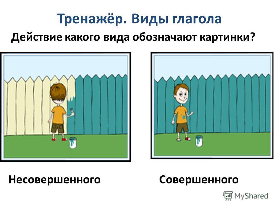 Тренажёр. Виды глагола Действие какого вида обозначают картинки? Несовершенного Совершенного