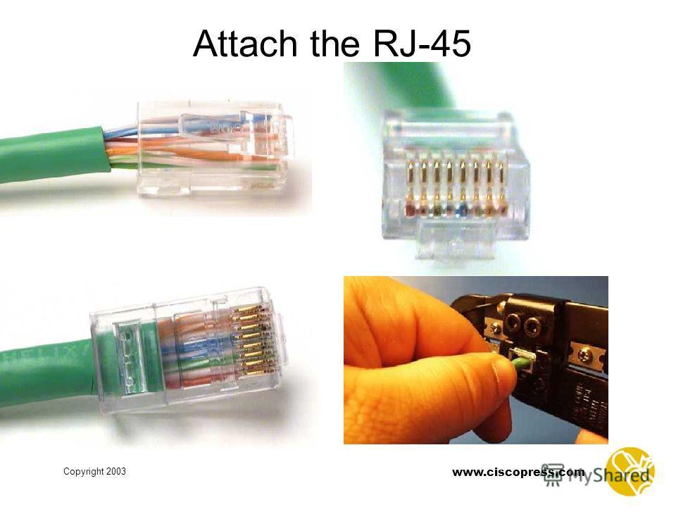 Copyright 2003 www.ciscopress.com Attach the RJ-45