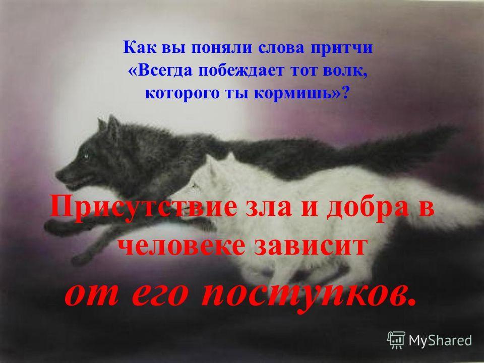 Как вы поняли слова притчи «Всегда побеждает тот волк, которого ты кормишь»? Присутствие зла и добра в человеке зависит от его поступков.