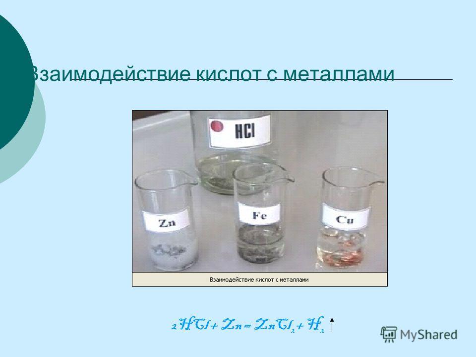 Взаимодействие кислот с металлами 2HCl + Zn = ZnCl 2 + H 2