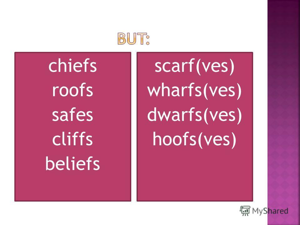 chiefs roofs safes cliffs beliefs scarf(ves) wharfs(ves) dwarfs(ves) hoofs(ves)