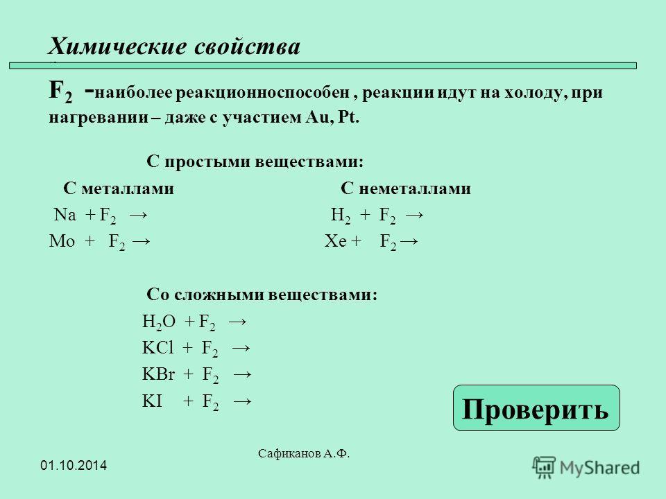 Химические свойства 45 F 2 - наиболее реакционноспособен, реакции идут на холоду, при нагревании – даже с участием Au, Pt. С простыми веществами: С металлами С неметаллами Na + F 2 H 2 + F 2 Mo + F 2 Xe + F 2 Со сложными веществами: H 2 O + F 2 KCl +