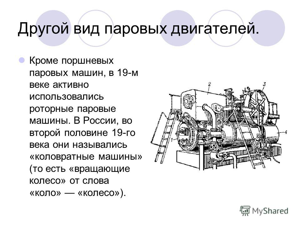 Другой вид паровых двигателей. Кроме поршневых паровых машин, в 19-м веке активно использовались роторные паровые машины. В России, во второй половине 19-го века они назывались «коловратные машины» (то есть «вращающие колесо» от слова «коло» «колесо»