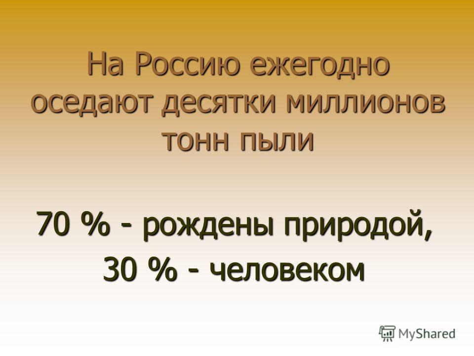 На Россию ежегодно оседают десятки миллионов тонн пыли 70 % - рождены природой, 30 % - человеком