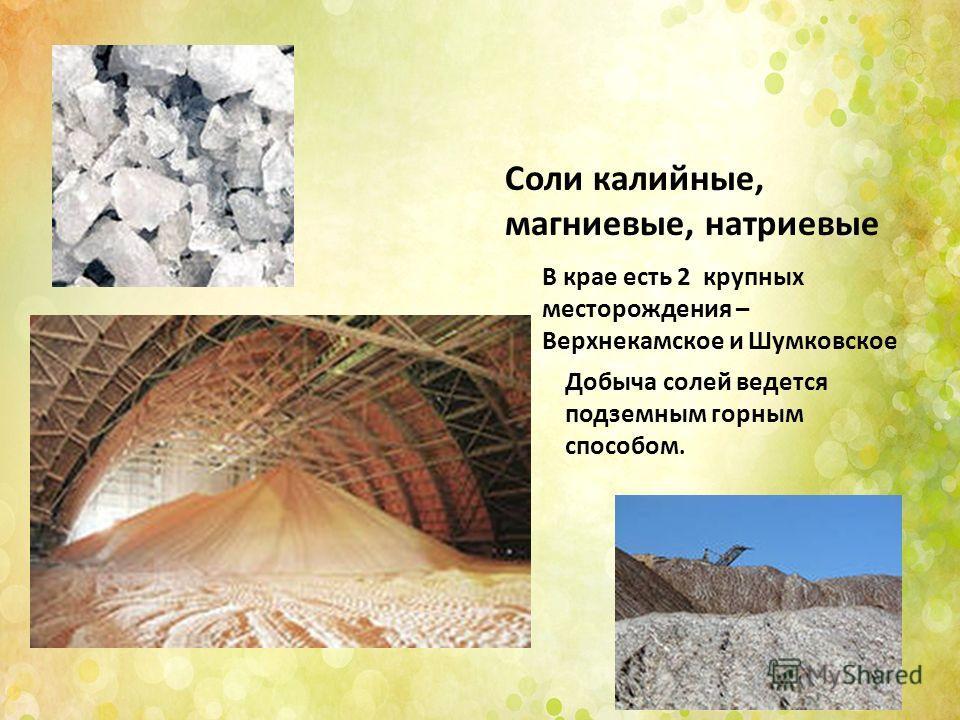 Соли калийные, магниевые, натриевые В крае есть 2 крупных месторождения – Верхнекамское и Шумковское Добыча солей ведется подземным горным способом.