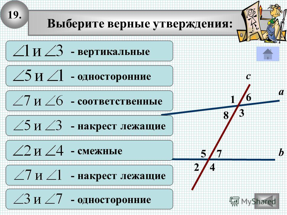 19. 2 1 4 с 7 3 8 6 5 а b - вертикальные - односторонние - соответственные - накрест лежащие - смежные - накрест лежащие - односторонние Выберите верные утверждения: