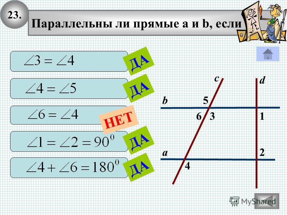23. 2 1 4 с 36 5 а b Параллельны ли прямые а и b, если d ДА НЕТ