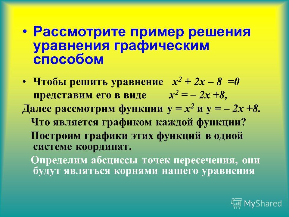 Рассмотрите пример решения уравнения графическим способом Чтобы решить уравнение х 2 + 2 х – 8 =0 представим его в виде х 2 = – 2 х +8, Далее рассмотрим функции у = х 2 и у = – 2 х +8. Что является графиком каждой функции? Построим графики этих функц