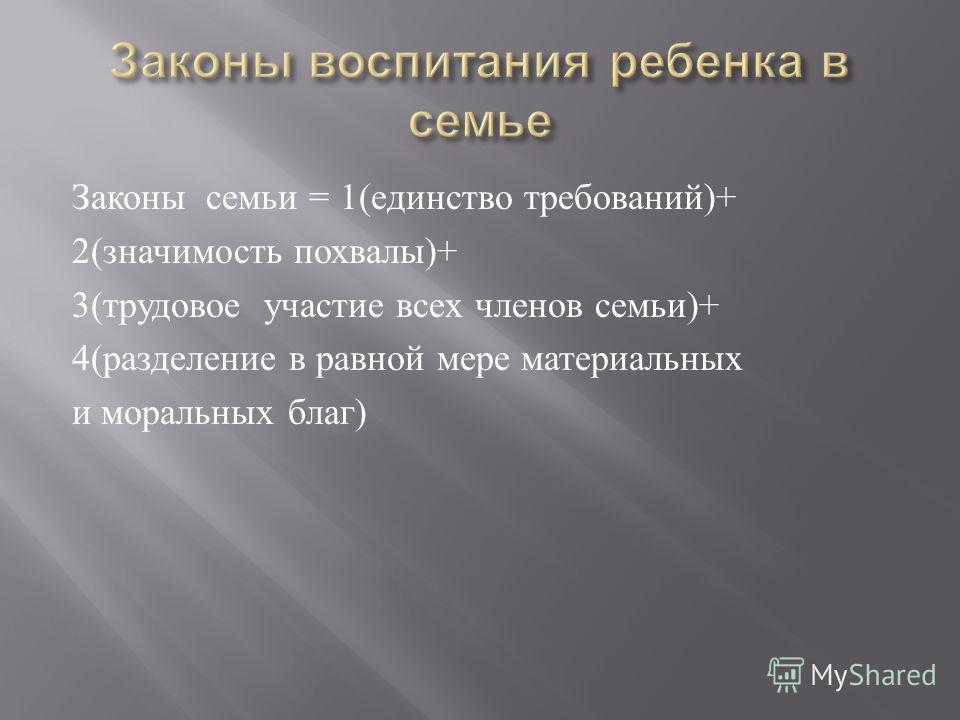 Законы семьи = 1( единство требований )+ 2( значимость похвалы )+ 3( трудовое участие всех членов семьи )+ 4( разделение в равной мере материальных и моральных благ )