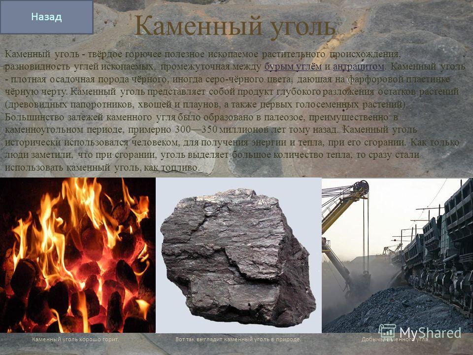 Каменный уголь Каменный уголь - твёрдое горючее полезное ископаемое растительного происхождения, разновидность углей ископаемых, промежуточная между бурым углём и антрацитом. Каменный уголь - плотная осадочная порода чёрного, иногда cepo-чёрного цвет