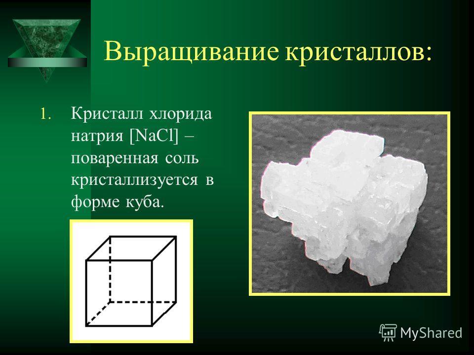 Выращивание кристаллов: 1. Кристалл хлорида натрия [NaCl] – поваренная соль кристаллизуется в форме куба.