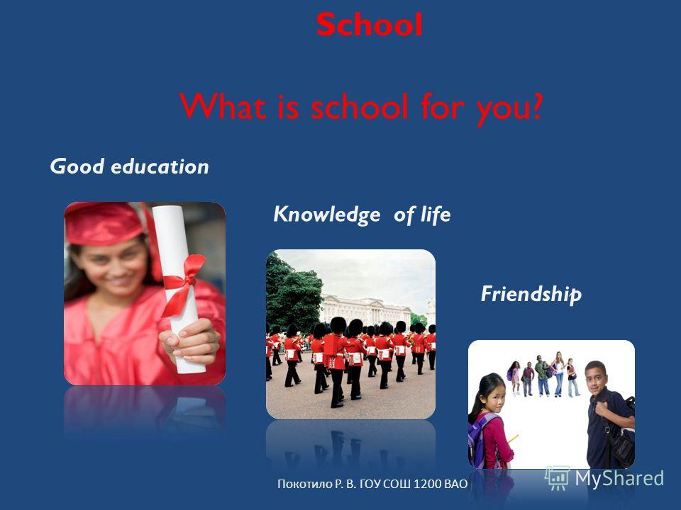 School What is school for you? Покотило Р. В. ГОУ СОШ 1200 ВАО Good education Knowledge of life Friendship
